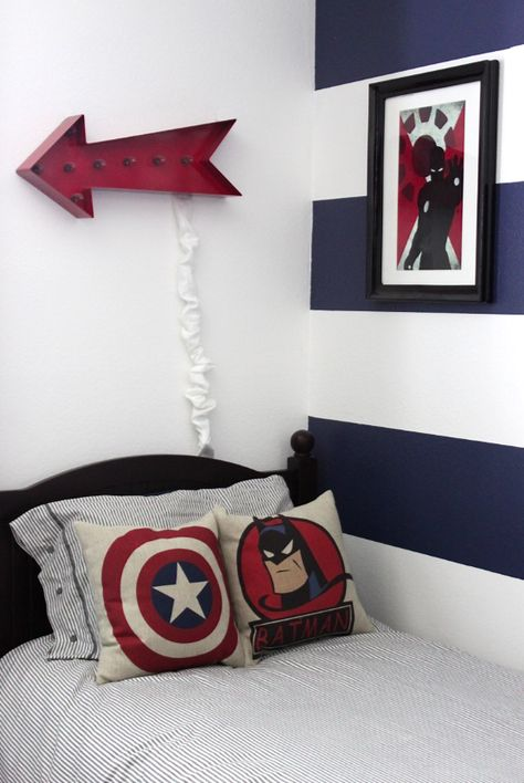 """PLT's """"Super Heroes"""" sign would be great in this boy's room too!  Shop Prints at www.prettylittlethings00.com"""