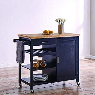Belleze Wood Top Multi Storage Cabinet Rolling Kitchen Island Table Cart With Wheels Black Diseño De Cocina Mesas Altas Cocina Islas De Cocina