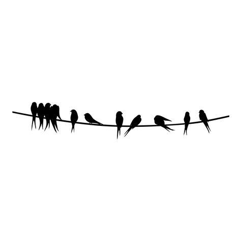 Wandtattoo Vögel auf Stromleitung | Tattoo, Bird and Silhouettes