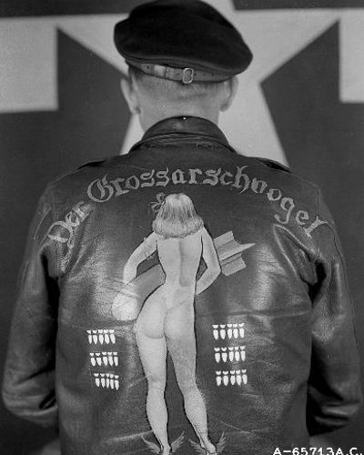 "conspicuousprejudice: "" chrisgaffey: "" WAR PAINT III June Bomber Group USAAF WWII flight jacket artwork "" Leather jackets & Garrison caps Bombs away!"