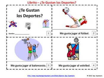Spanish Te Gustan Los Deportes Booklet Spanish Sports Spanish Teaching Resources Spanish Lesson Plans Elementary Lesson Plans