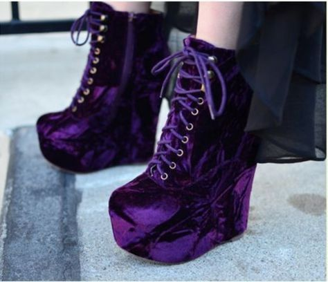 shoes purple shoes platform shoes lace shoes accessory is part of Velvet shoes - Purple Wedges, Purple Shoes, Me Too Shoes, Wedge Shoes, Shoes Heels, Lace Shoes, Shoes Men, Dress Shoes, Girls Shoes