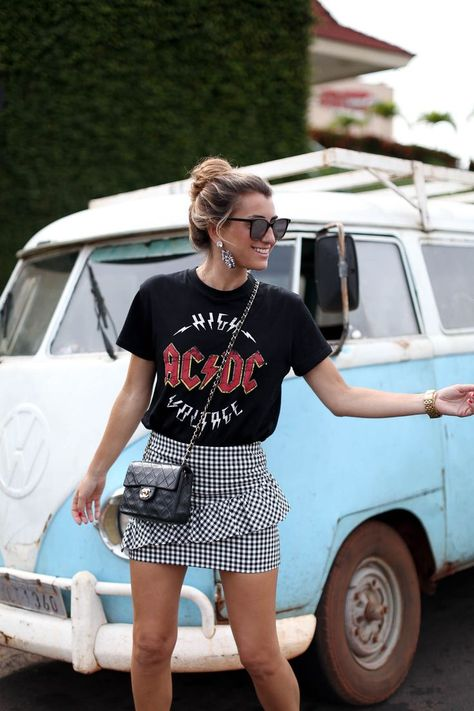 street style outfit + gingham print ruffle skirt + band tee + cross body chanel handbag + bohemian look with edge + summer outfit inspo
