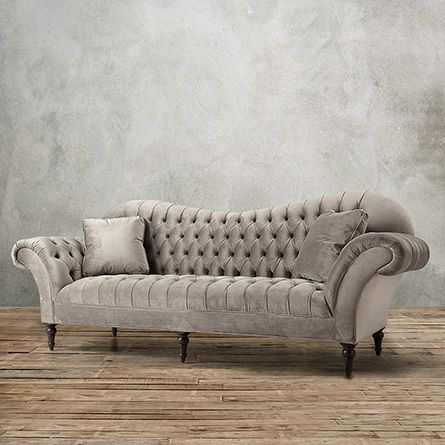 Club Petite Upholstered Tufted Sofa In Arabella Ash Ash - Tufted upholstered sofa