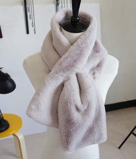 Womens Warm Scarf Faux Fur Grass Thicken Shawl Winter Solid Color Collar Wrap Stole Scarves