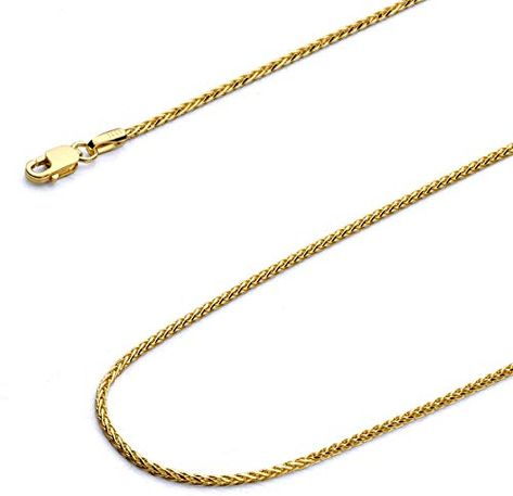 """14k Yellow Gold Round Wheat Necklace Pendant Chain 16/"""" 1.0mm"""