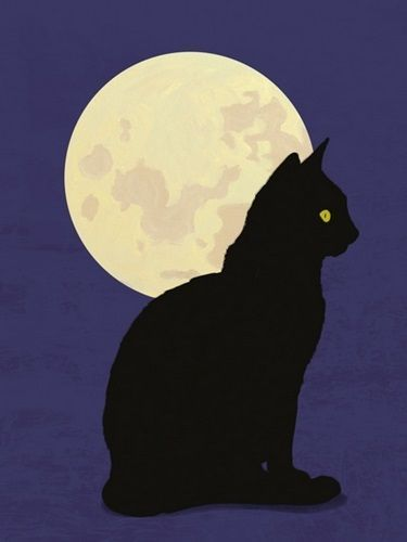 Black Cat And Moon Graphic Hand Painted Illustration Black Cat Illustration Illustration Wall Art Graphic Illustration