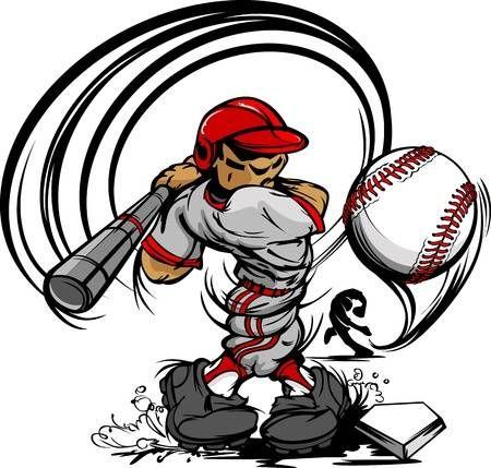Jugador De Beisbol De Dibujos Animados Con El Bate Y Pelota Ilustracion Vector Jugadores De Beisbol Fotos De Beisbol Dibujos Animados