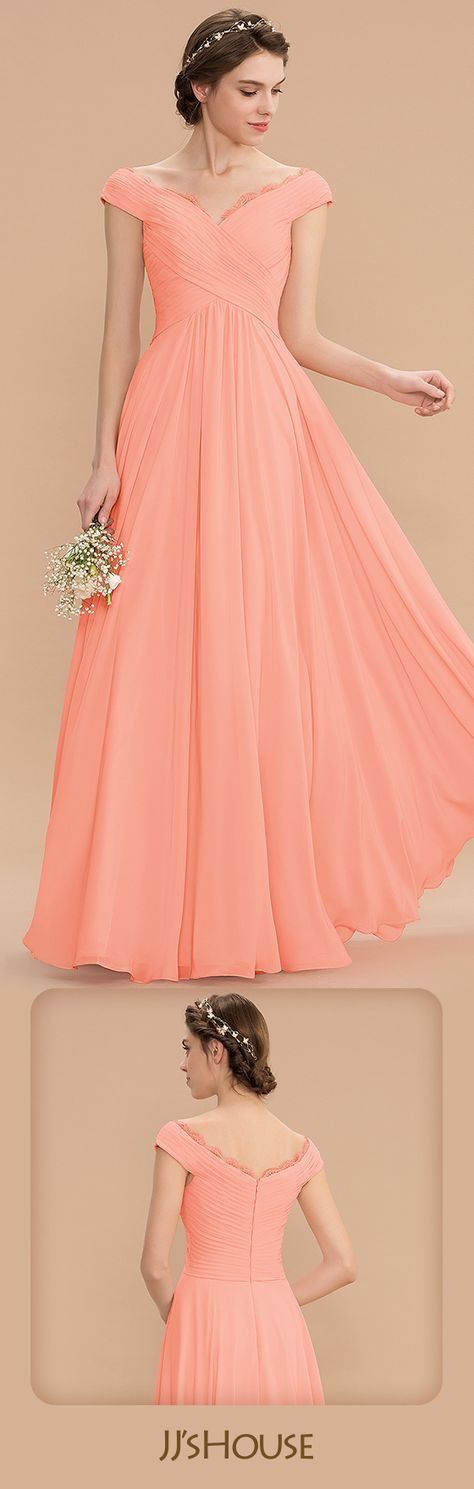 A-Line Off-the-Shoulder Floor-Length Chiffon Bridesmaid Dress With Ruffle Lace #JJsHouse #BridesmaidDresses