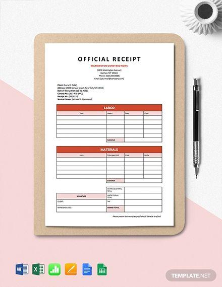 Building Construction Receipt Template Word Doc Excel Apple Mac Pages Google Docs Google Sheets Apple Mac Numbers Financial Apps Receipt Template Free Receipt Template