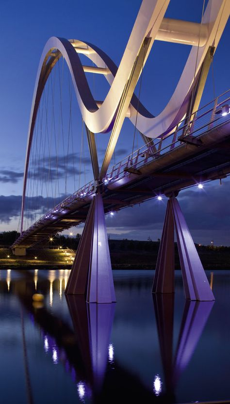 Infinity Bridge, footbridge across the River Tees, Stockton-on-Tees, England designed by Expedition Engineering and architect Spence Associates