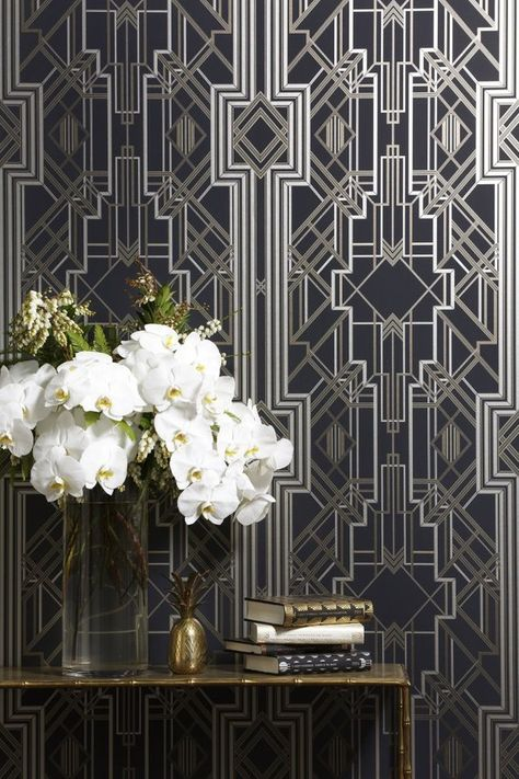 The Great Gatsby iconic Art Deco wallpaper design / wallcovering - glamorous feature wall - 1920s