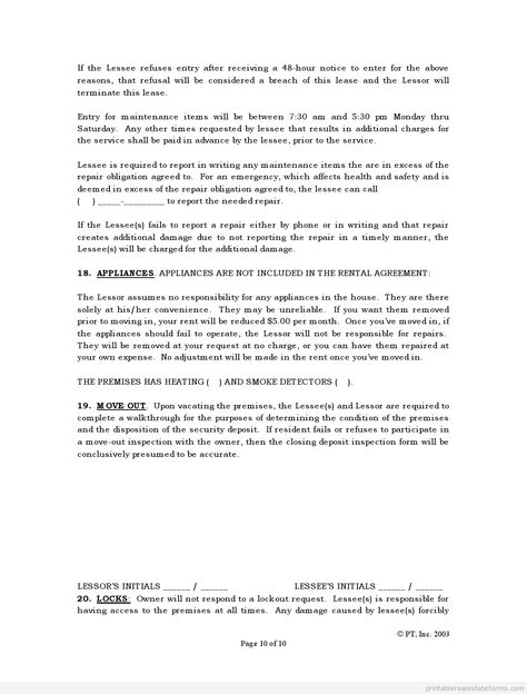 Sample Printable standard lease agreement Form