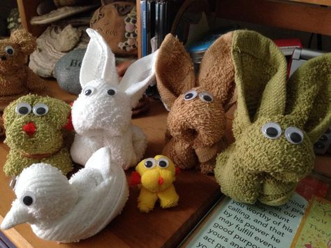 Bunnies, dog and chick all made from a single wash cloth.
