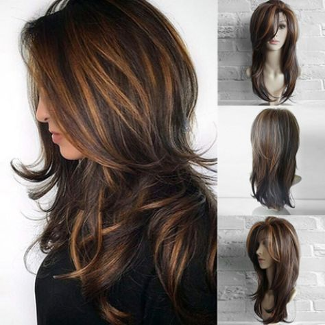 2018 Women's fashion Front Wigs Loose Wave Synthetic Heat Resistant Middle Parted Natural brown Linen Wig Human Hair Wig PS wig cap Curls For Long Hair, Boys With Curly Hair, Full Hair, Long Layered Hair With Side Bangs, Medium Length Hair With Layers, Wavy Curls, Black Roots Blonde Hair, Blonde Wig, Wig Hairstyles