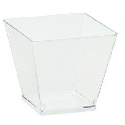 "These mini cubes come in counts of 40 that are each 3"" tall and 2"" wide. They are perfect for creating chic hors d'oeuvres, desserts, jello shots and more. Each cube is clear and is made out of quality plastic."