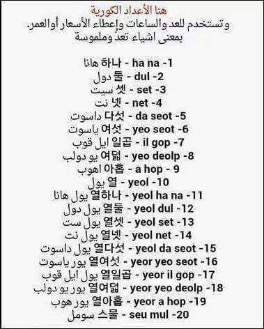 الارقام بالكورية Korean Words Learning Korean Words Learn Korean