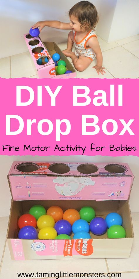 Learn how to turn an old diaper box into this easy DIY ball drop box. This is a great way to recycle an old box into a simple learning activity for babies and toddlers. They can practice fine motor skills, hand eye co-ordination and so much more. Baby Learning Activities, Activities For 1 Year Olds, Motor Skills Activities, Montessori Activities, Infant Activities, Kids Learning, Activities For Kids, Diy Toys For Toddlers, Games For Babies