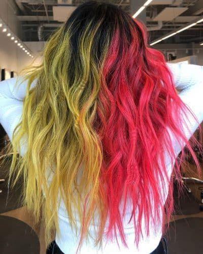 23 Brilliant Split Hair Color Ideas That Ll Make You Dye Your Hair In 2020 Split Hair Hair Dye Tips Colored Hair Tips