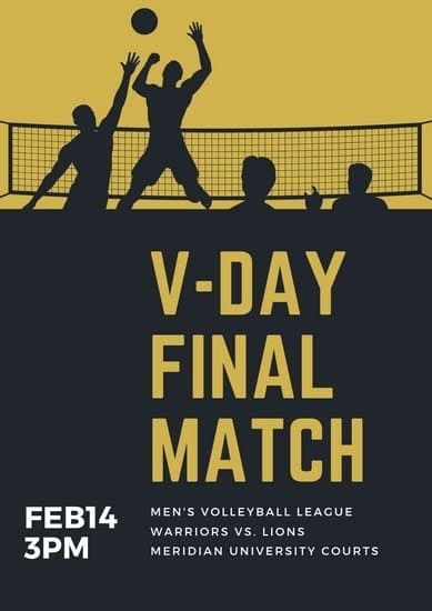 Customize 27 Volleyball Poster Templates Online Canva In 2020 Poster Template Volleyball Posters Flyer Template