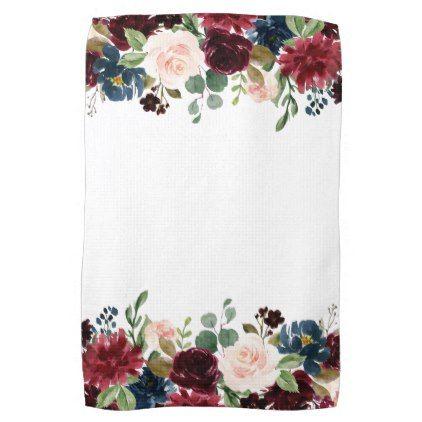 Burgundy Blue Watercolor Flowers Border Towel Zazzle Com