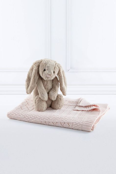 2e76b6b7e3 Soft pastel life-time heirloom Wool Company baby blanket and a  oh-so-soft-and-snuggly Jellycat Bashful Bunny. The perfect new baby gift in  a box!