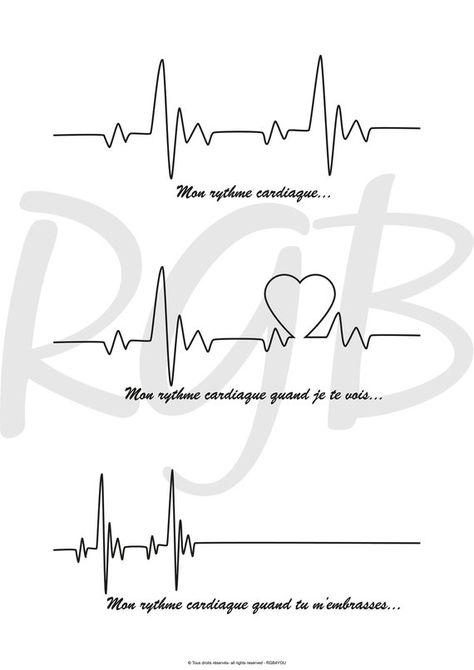 Fichier numérique A3 Affiche Rythme Cardiaque... amour | Etsy
