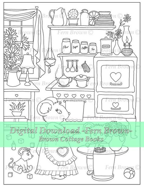 Mouse Adult Coloring Pages Printable Download Animal Digi Stamp