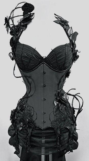 Steampunk: Black rose and vine corset