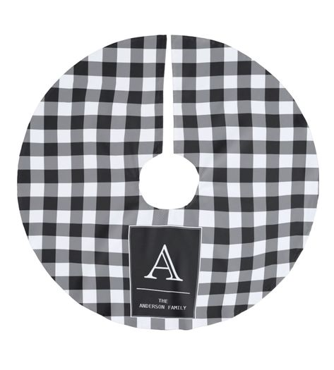 "Personalised black and white buffalo plaidChristmas tree skirt. Personalaise your monogram and family name. Tree skirt lays perfect place for gifts just waiting to be opened. This tree skirt id 44"" diameter for your Christmas gifts. #Christmas #ChrismasTreeSkirt #TreeSkirt #HolidayTreeSkirt #ChristmasTree #ChristmasIsComming #Christmas2020 #bufalo #plaid #tree #skirt"