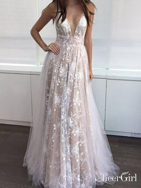 62ed2b76ad Floral Tulle Lace Nude Long Prom Dresses Sexy V Neck Prom Dress ARD1946