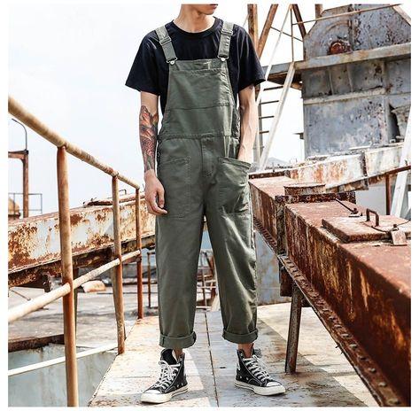 One Piece Man, Overalls Outfit, Dungarees, Estilo Grunge, Suspender Pants, Casual Jumpsuit, Looks Vintage, Punk Fashion, Fashion Men
