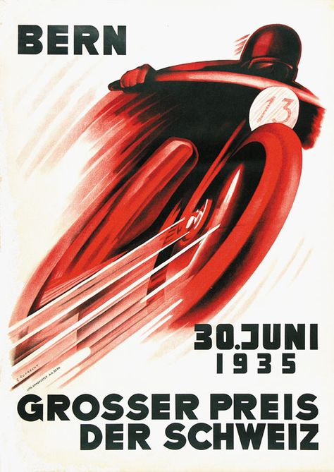 Bern Switzerland Motorcycle Car Race 1954 16X20 Vintage Poster Repro FREE S//H