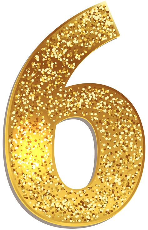 Number Six Gold Shining PNG Clip Art Image | Gallery Yopriceville - High-Quality Images and Transparent PNG Free Clipart