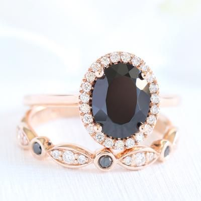Looking For A Best Black Diamond Alternative Ring Black Spinel Engagement Rings Will Be The Pe Black Spinel Ring White Diamond Band Bridal Ring Sets
