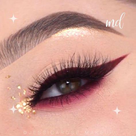 BURGUNDY & GOLD FALL EYE MAKEUP LOOK  #eye #eyemakeup #makeup #augenmakeup
