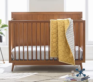 West Elm X Pbk Mid Century 4 In 1 Convertible Crib In 2020 Cribs Convertible Crib Platform Mattress