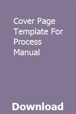 Cover Page Template For Process Manual Owners Manuals Cover Page Template Chilton Repair Manual