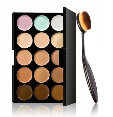 Fortan Kosmetische Blusher Foundation Bürste + 15 Farben Concealer & Lidschatten-Palette Kit: Amazon.de: Beauty