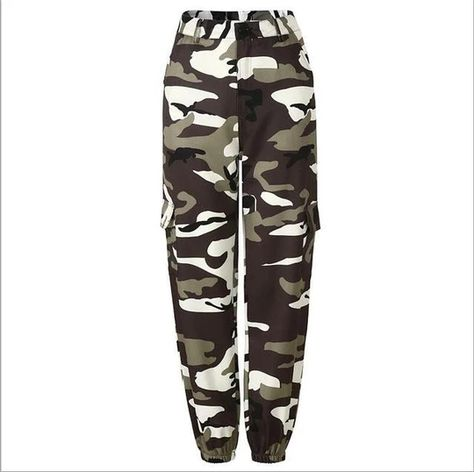 7 Color 2018 Ing Loose Jeans Camouflage Casual Loose Streetwear Pantalon Femme Zipper Open Leisure Cargo Pants army green S