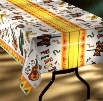 Fiesta Time Plastic Tablecloth 100 Foot Roll By Tablemate Plastic Table Covers Plastic Tables Table Covers