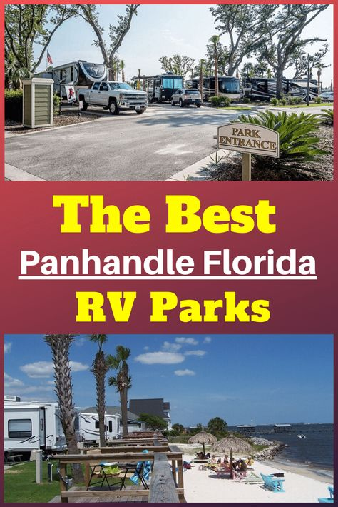 Don't miss these parks when RVing through the panhandle. This is our complete guide to the best RV parks in panhandle, Florida. Florida Camping, Beach Camping, Camping Life, Florida Travel, Rv Camping, Rv Parks In Florida, Camping Stuff, Rv Life, Camping Ideas