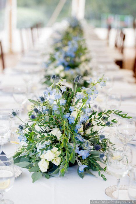 Ameer And Lindsay S Wedding In Falmouth Massachusetts Flower Centerpieces Wedding Wedding Floral Centerpieces Blue Wedding Flowers