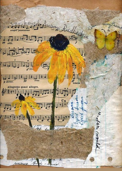 Rudbeckia by Sorana Tarmu Mixed media - acrylics on a collage of handmade and upcycled papers and old sheet music. acrylics, pens and marker on a collage of handmade and upcycled papers Flower Art, Art Projects, Collage Art Mixed Media, Art, Painting Media, Collage Art, Music Art Diy, Pressed Flower Art, Art Journal Cover
