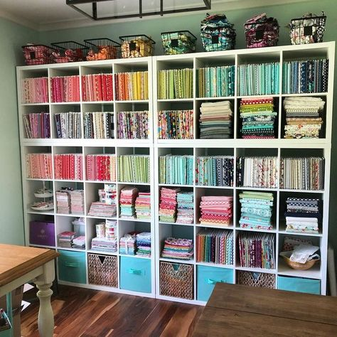 How to Organize Your Yardage — String & StoryYou can find Sewing rooms and more on our website.How to Organize Your Yardage — String & Story Sewing Room Design, Sewing Room Storage, Craft Room Design, Sewing Spaces, Sewing Room Organization, My Sewing Room, Craft Room Storage, Fabric Storage, Craft Rooms