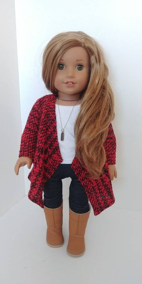 Your home to purchase and promote all issues handmade Excited to share the newest addition to my etsy store Trendy 18 inch doll clothes Suits like American lady doll garments 18 inch doll garments Cardigan sweater toys dollclothes black American Girl Outfits, Ropa American Girl, Custom American Girl Dolls, American Doll Clothes, Ag Doll Clothes, Crochet Doll Clothes, Clothes Crafts, Doll Clothes Patterns, American Lady