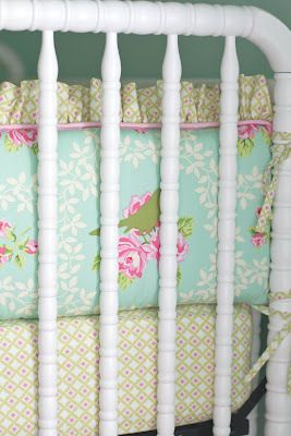 Custom Fl Bedding Set For An Aqua And Pink Nursery Homemade By Her Talented Grandmother Bed Fabric Ideas Bedroom Pinterest