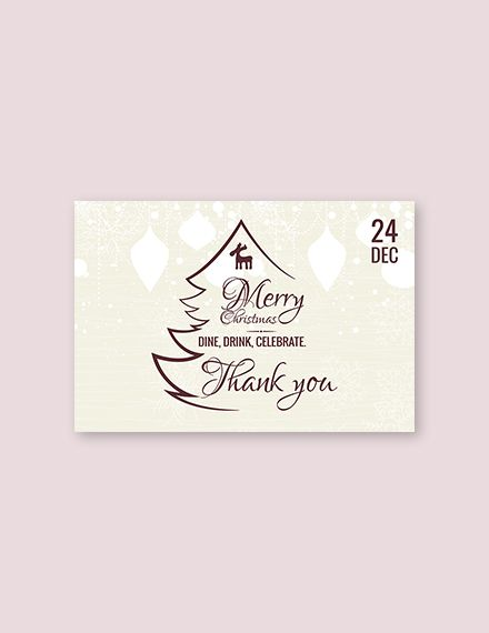 Free Restaurant Christmas Thank You Card Template Word Doc Psd Apple Mac Pages Publisher Thank You Card Template Cards Thank You Cards