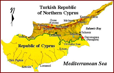 AKROTIRI AND DHEKELIA Map AKROTIRI AND DHEKELIAUK OVERSEAS - Northern cyprus map