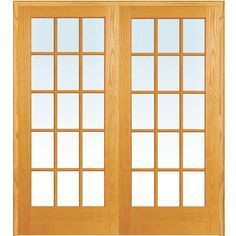 Mmi Door 73 5 In X 81 75 In Classic Clear True Divided 15 Lite Unfinished Pine Wood Interior French Double Door March Glass French Doors Wood Doors Interior